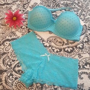 Turquoise bra and panty set